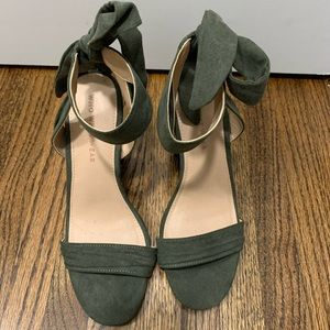 Who What Wear Olive Ankle Tie Heels